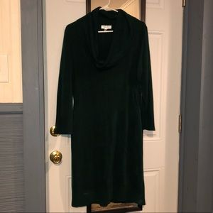 Long sleeved cowl-necked sweater dress